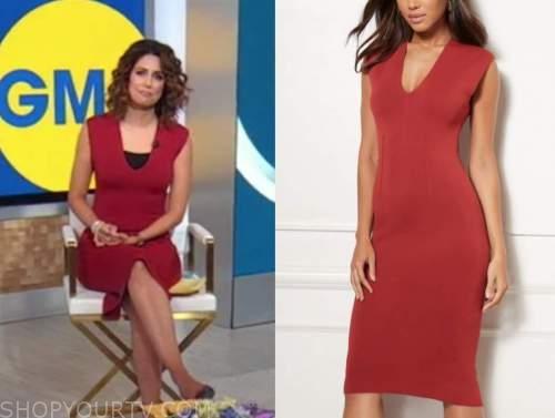 cecilia vega, good morning america, red knit dress