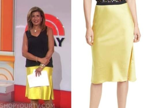 hoda kotb, the today show, yellow silk skirt