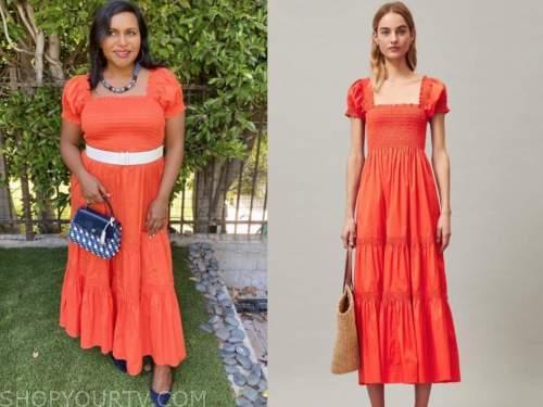 mindy kaling, orange dress