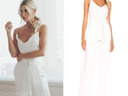 haley ferguson, the bachelor, white drape jumpsuit