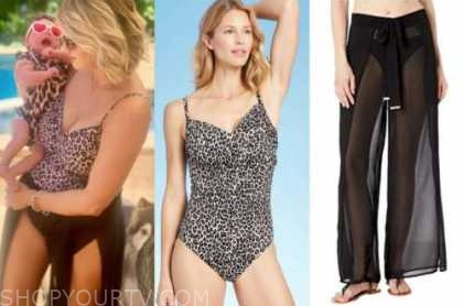 jenna cooper, the bachelor, leopard swimsuit, black coverup pants