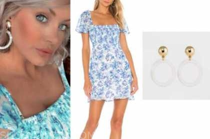 jenna cooper, blue and white floral dress, white braided hoop earrings