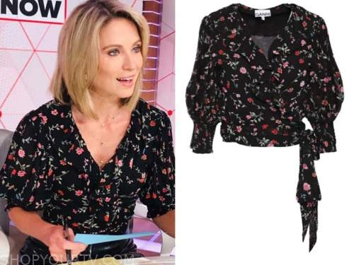 amy robach, good morning america, black floral wrap top