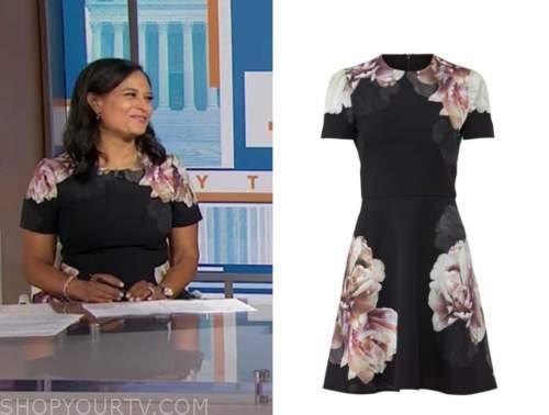 kristen welker, the today show, black floral dress