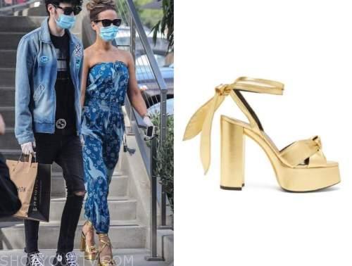kate beckinsale, gold sandals