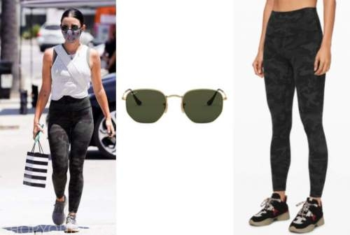 lucy hale, sunglasses, camo leggings