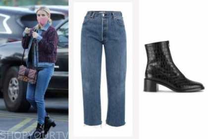 emma roberts, jeans, black boots