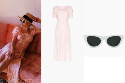 emma roberts, pink gingham dress, white sunglasses
