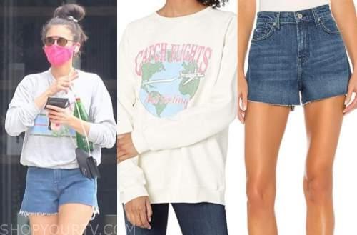 nina dobrev, sweatshirt, denim shorts