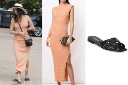 ana de armas, orange dress, black bag, black sandals