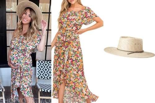 tenley molzahn, floral dress, straw hat
