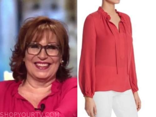 joy behar, the view, red ruffle collar blouse
