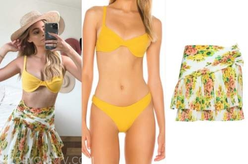 amanda stanton, yellow bikini, floral skirt, the bachelor
