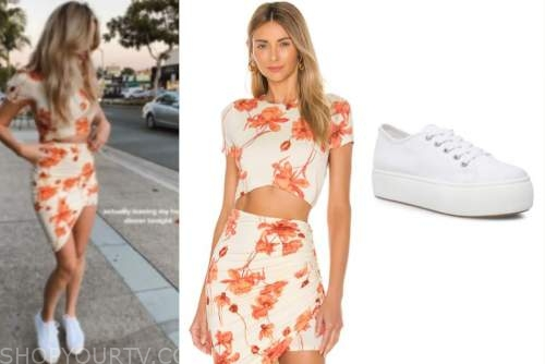 amanda stanton, orange and white floral crop top and skirt, white sneakers, the bachelor