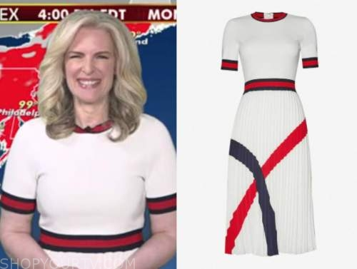 janice dean, fox and friends, white and red contrast trim dress