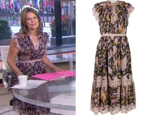 savannah guthrie, purple floral midi dress, the today show