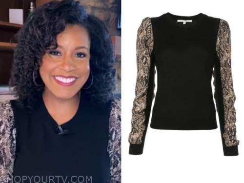 sheinelle jones, the today show, snakeskin sleeve sweater