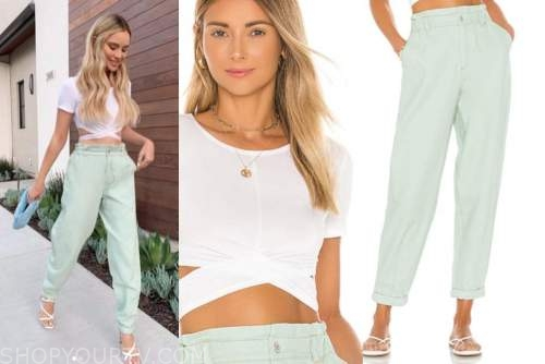 amanda stanton, the bachelor, white crop top and green pants