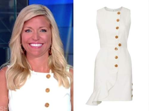 ainsley earhardt, fox and friends, white button sheath dress