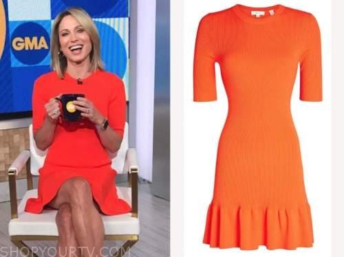 amy robach, good morning america, red orange knit dress
