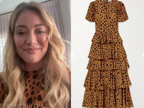 celebrity fashion, hilary duff, leopard tiered dress