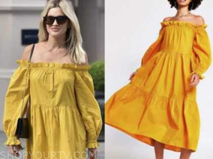 ashley roberts, yellow off-the-shoulder dress
