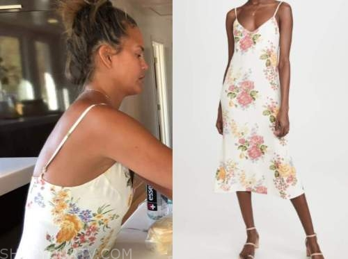 chrissy teigen, white floral midi dress