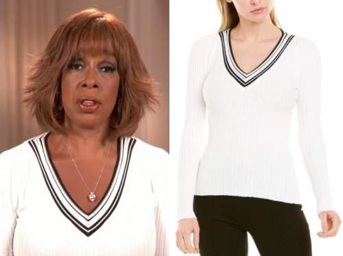 gayle king, cbs this morning, black and white v-neck sweater
