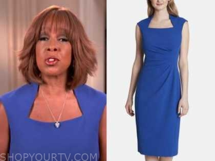 gayle king, blue square neck sheath dress, cbs this morning