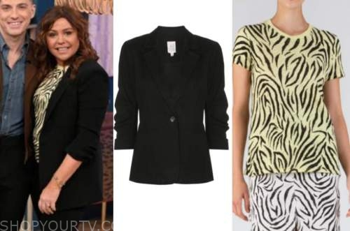 rachael ray, the rachael ray show, black blazer, yellow zebra top