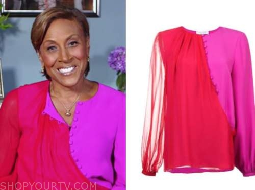 robin roberts, good morning america, red and pink blouse