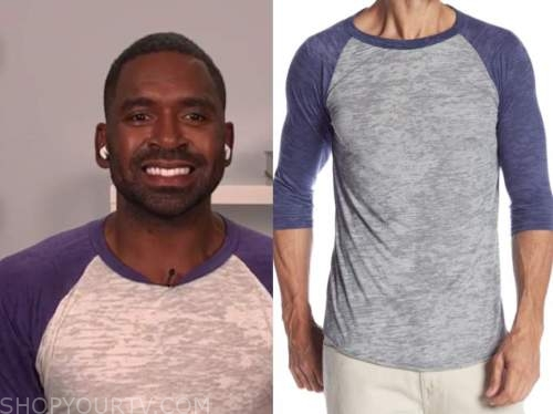 justin sylvester, E! news daily pop, purple and grey baseball top