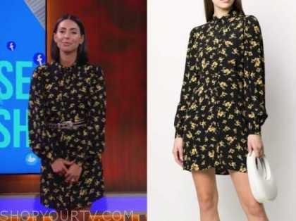 jade catta-preta, the soup, E! news, black and yellow floral shirt dress