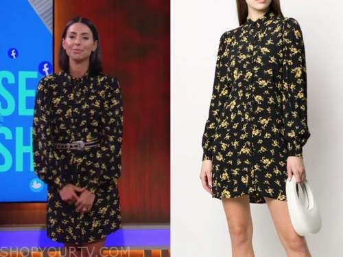 jade catta-preta, the soup, E! news, black and yellow floral shirt dress