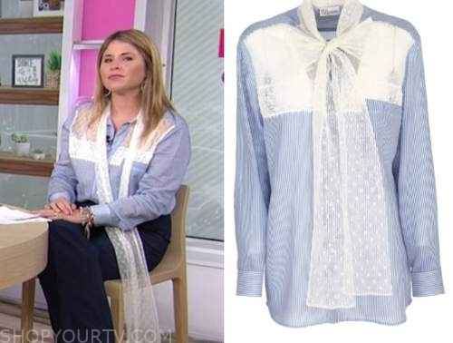 the today show, jenna bush hager, blue striped lace shirt