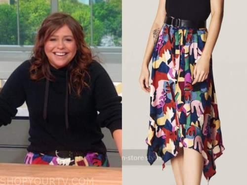 rachael ray, the rachael ray show, floral multicolor skirt