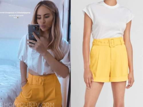 amanda stanton, yellow belted shorts, the bachelor