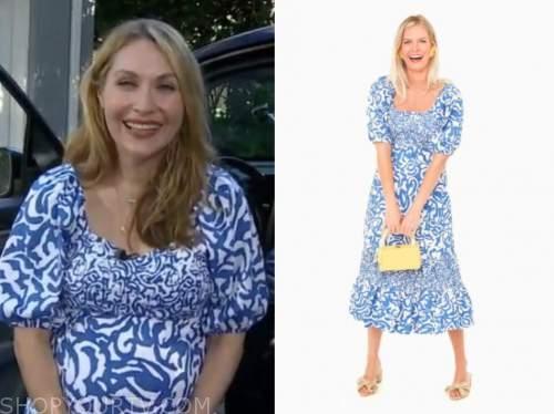 lori bergamotto, good morning america, blue and white printed dress