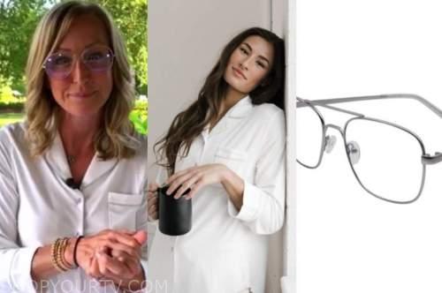 lara spencer, good morning america, white pajamas, aviator eyeglasses