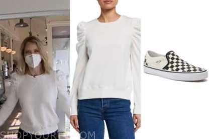 sara haines, white puff sleeve sweater, check slip on sneakers