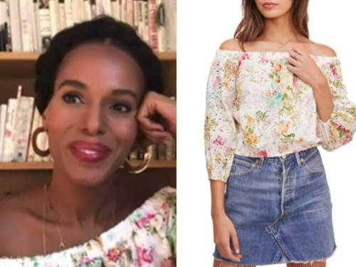kerry washington, the view, floral eyelet off-the-shoulder top