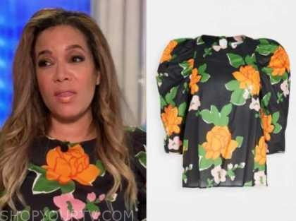 sunny hostin, the view, black and orange floral top