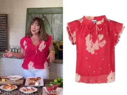 elizabeth heiskell, the today show, red floral pleated top