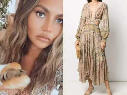 chrissy teigen, paisley print dress