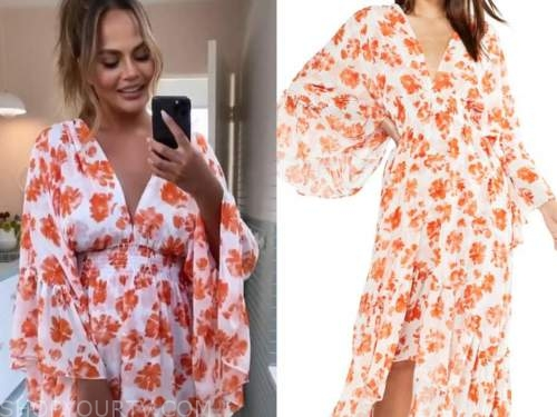 chrissy teigen, orange and white floral dress,