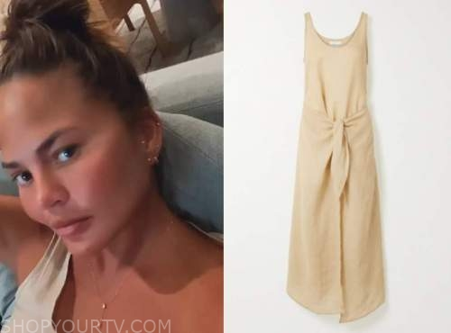chrissy teigen, beige tie waist dress