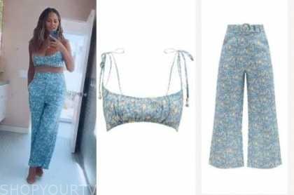chrissy teigen, blue floral bralette and pants