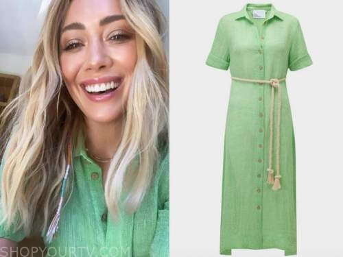 hilary duff, green shirt dress