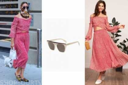 olivia palermo, sunglasses, red printed crop top and skirt