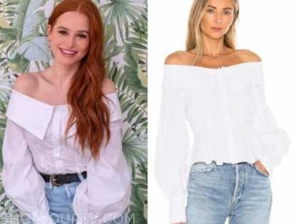 madelaine petsch, white off-the-shoulder top